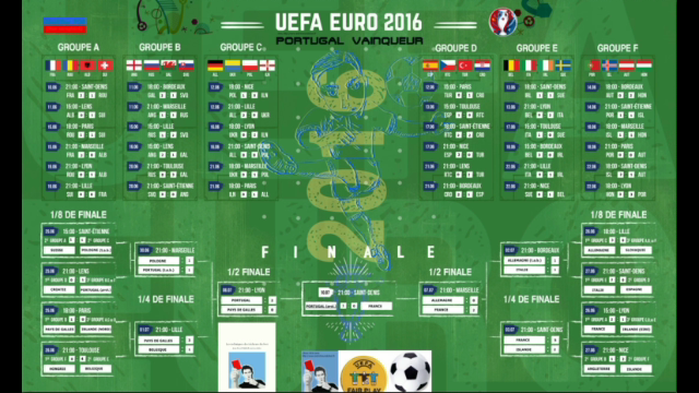 Calendrier complet EURO 2016